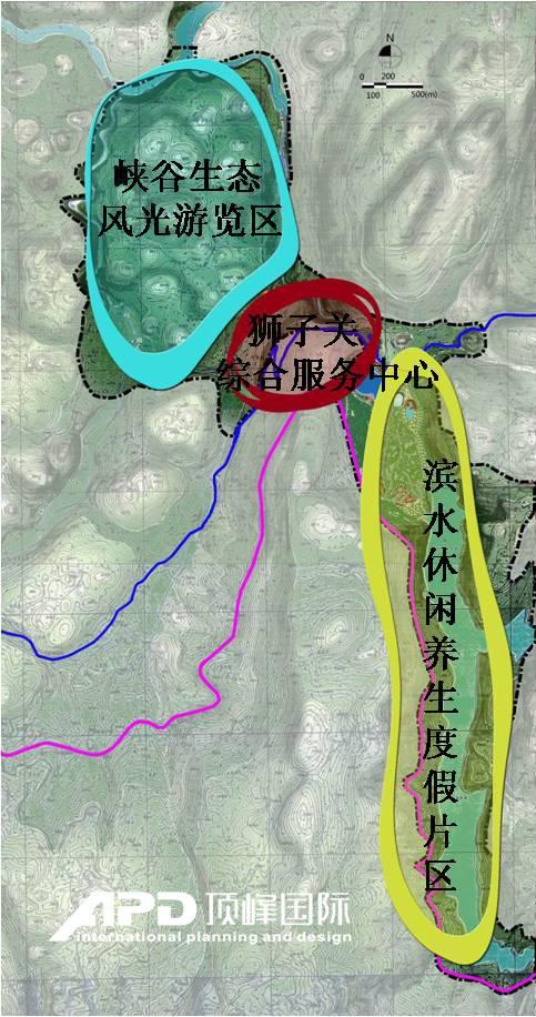 宣恩狮子关旅游区功能分区图