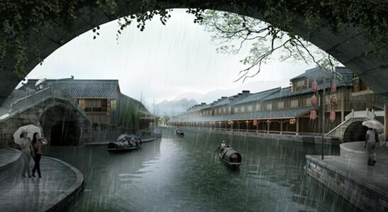 三桥四水雨景透视图