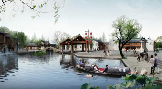 柯桥古镇历史文化街区主入口广场透视图